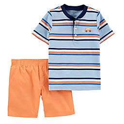 carter's® 2-Piece Striped Henley and Short Set in Orange