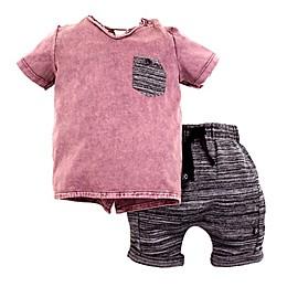 Kidding Around 2-Piece T-Shirt and Short Set in Burgundy