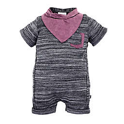 Kidding Around 2-Piece Snow Wash Romper and Bib Set in Grey
