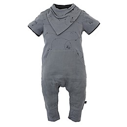 Kidding Around 2-Piece Coverall and Bib Set in Charcoal