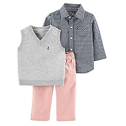 carter's® 3-Piece Long Sleeve Shirt, Vest and Pant Set