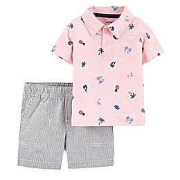 carter's® 2-Piece Short Sleeve Polo Shirt and Short Set in Pink