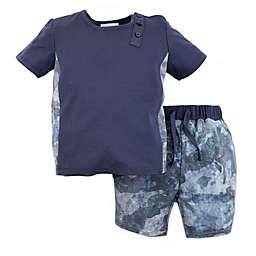 Kidding Around 2-Piece T-Shirt and Short Set in Blue Camo