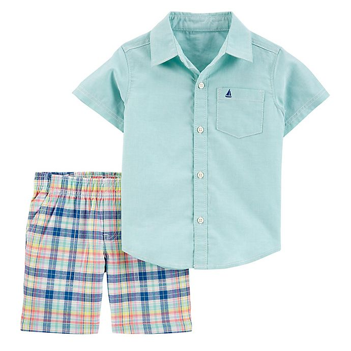 Alternate image 1 for carter's® 2-Piece Oxford Button Down Shirt and Plaid Short Set in Mint