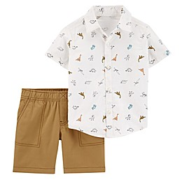 carter's® 2-Piece Dinosaur Button Front Shirt and Canvas Short Set in Khaki