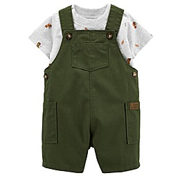 carter's® 2-Piece Animal Top and Shortall Set in Olive