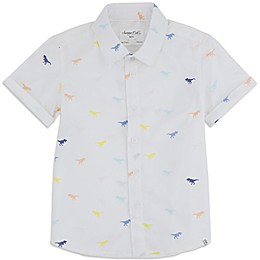 Sovereign Code™ Dino Toddler Button-Front Shirt in White