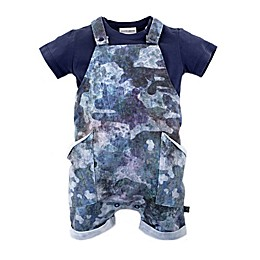 Kidding Around 2-Piece T-Shirt and Shortall Set in Blue Camo