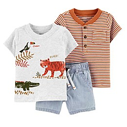 carter's® 3-Piece Animal Shirts and Short Set in Heather
