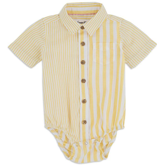 Alternate image 1 for Sovereign Code™ Size 0-3M Mixed Stripe Bodysuit in Canary Yellow
