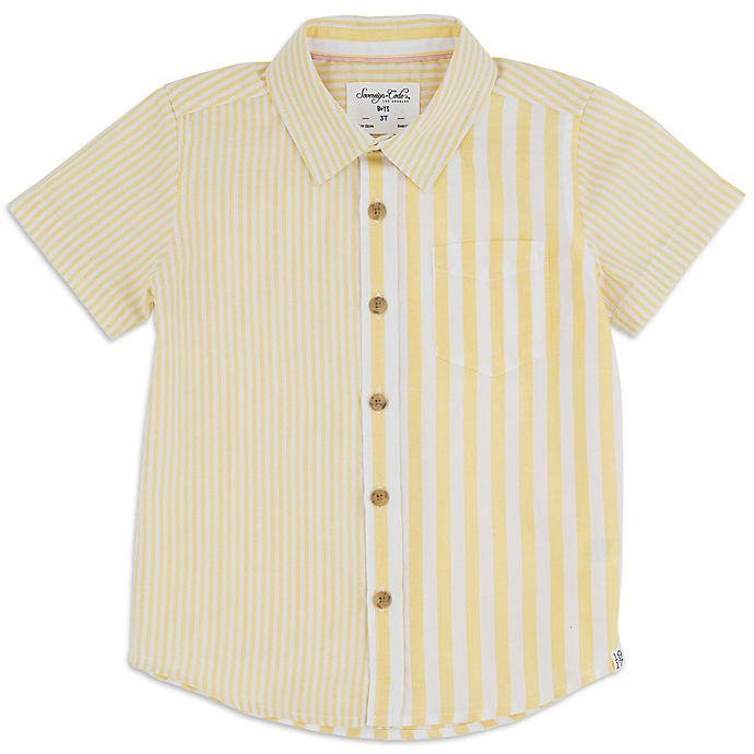 Alternate image 1 for Sovereign Code™ Canary Stripe Toddler Button-Front Shirt in Yellow