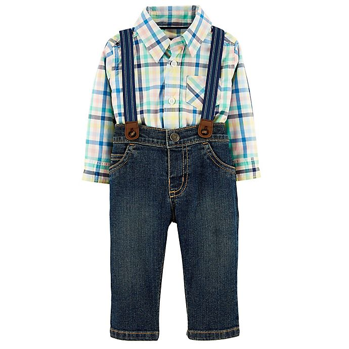 Alternate image 1 for carter's® 3-Piece Dress Me Up Bodysuit, Suspenders and Pant Set in Plaid