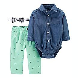 carter's® 3-Piece Dress Me Up Button-Front Bodysuit, Bowtie and Pant Set
