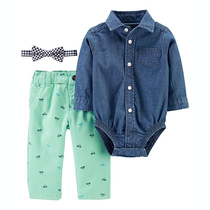 Alternate image 1 for carter's® 3-Piece Dress Me Up Button-Front Bodysuit, Bowtie and Pant Set
