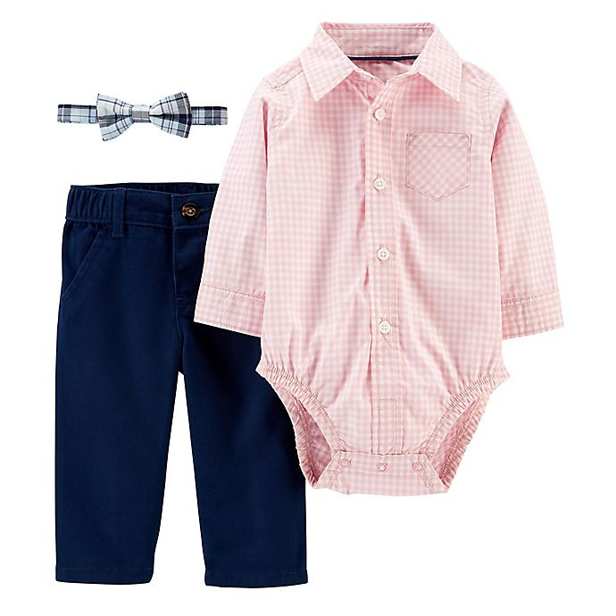 Alternate image 1 for carter's® Newborn 3-Piece Gingham Dress Me Up Bodysuit, Bowtie and Pant Set in Pink