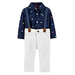 carter's® 3-Piece Dinosaur Dress Me Up Bodysuit, Suspender and Short Set