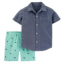 carter's® 2-Piece Button-Front Shirt and Canvas Short Set in Chambray