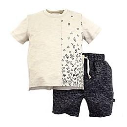 Kidding Around Triangle Print T-Shirt and Short Set in Khaki