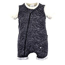 Kidding Around 2-Piece Shirt and Romper Set in Grey/Khaki