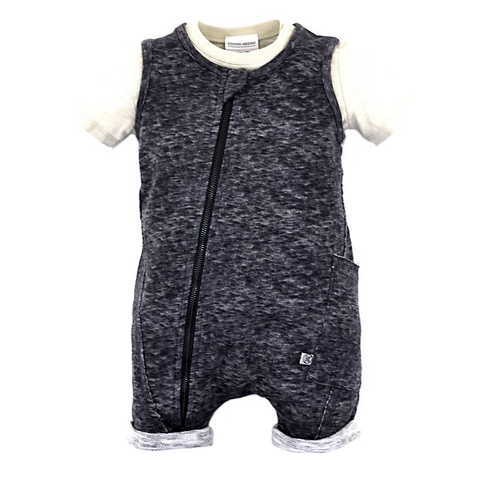 Alternate image 1 for Kidding Around Size 12M 2-Piece Shirt and Romper Set in Grey/Khaki