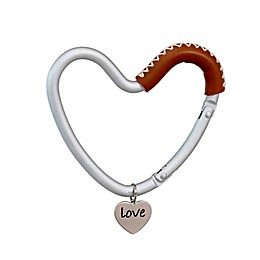 Buggygear™ Heart-Shaped Stroller Hook in Silver/Brown Leather