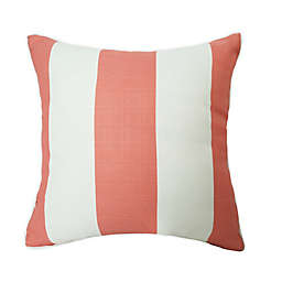 One Kings Lane Open House™ Cabana Stripe Indoor/Outdoor Square Throw Pillow in Coral