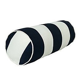One Kings Lane Open House™ Cabana Stripe Indoor/Outdoor Bolster Throw Pillow in Navy