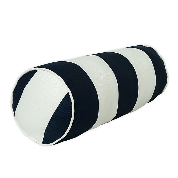Alternate image 1 for One Kings Lane Open House™ Cabana Stripe Indoor/Outdoor Bolster Throw Pillow in Navy