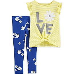 carter's® 2-Piece Love Tie-Front Shirt and Floral Legging Set