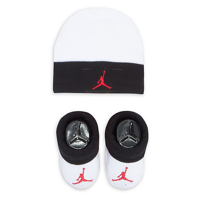 Alternate image 1 for Nike® Jordan® 2-Piece Hat and Bootie Set in White/Black