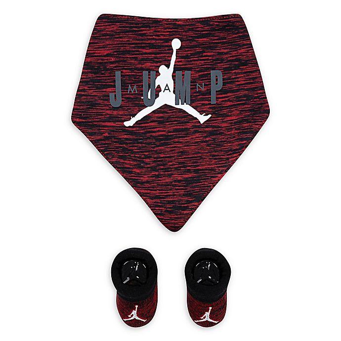 Alternate image 1 for Nike® Jordan 2-Piece Bib and Bootie Set in Red/Black