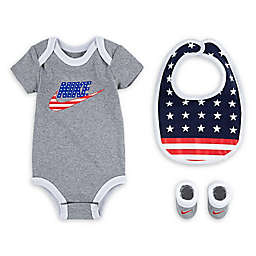 Nike® Size 0-6M 3-Piece Futura Bodysuit, Bib, and Bootie Set in Heather Grey/Blue
