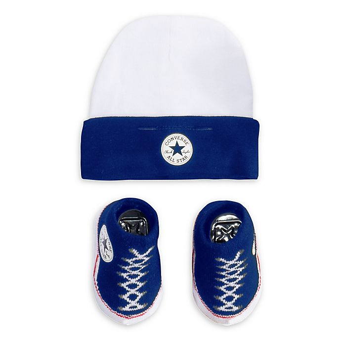 Alternate image 1 for Converse® Size 0-6M Hat and Bootie Set in Blue