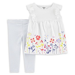 carter's® 2-Piece Floral Slub Top and Striped Legging Set in Ivory