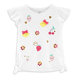 carter's® Glitter Fruit Short Sleeve Top in White