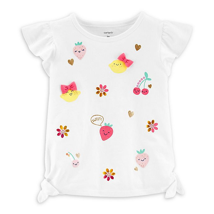 Alternate image 1 for carter's® Glitter Fruit Short Sleeve Top in White