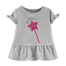 carter's® Glitter Wand Short Sleeve Peplum Top in Heather