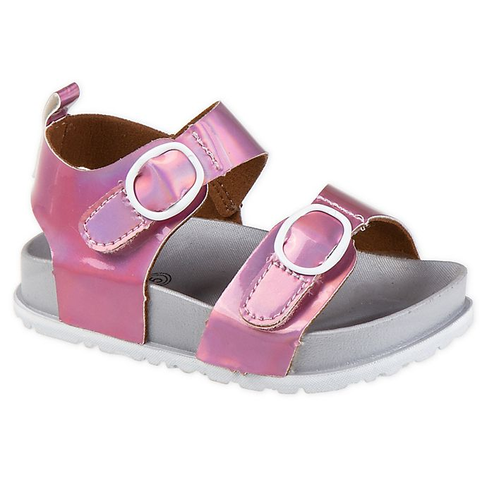 Alternate image 1 for Stepping Stones Mirrored Footbed Sandal in Pink