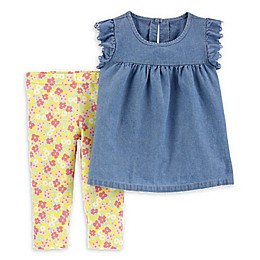 carter's® 2-Piece Chambray Top & Floral Legging Set in Denim