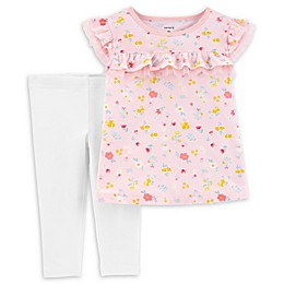 carter's® 2-Piece Floral Top and Capri Legging Set in Pink