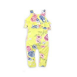 Kidding Around 2-Piece Floral Romper and Headband Set in Yellow