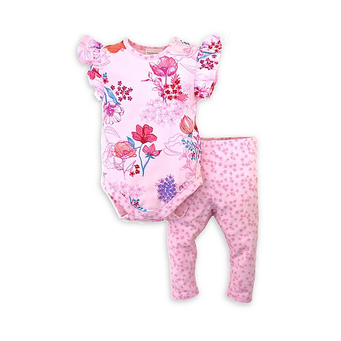 Alternate image 1 for Kidding Around 2-Piece Floral Bodysuit and Pant Set in Pink
