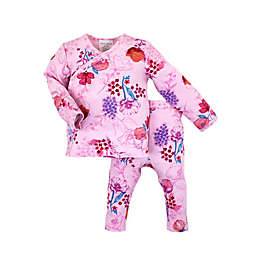Kidding Around 2-Piece Floral Wrap Shirt and Pant Set in Pink