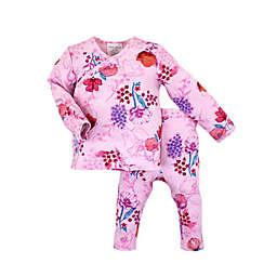 Kidding Around Newborn 2-Piece Floral Wrap Shirt and Pant Set in Pink