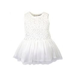 Kidding Around Crochet Lace Dress Romper in White