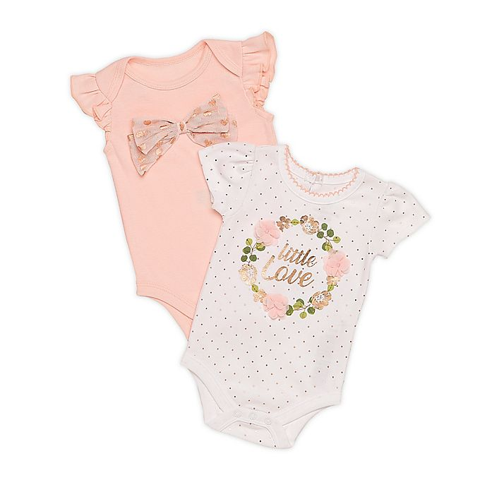 Alternate image 1 for Baby Starters® Size 3M 2-Pack Little Love Bodysuits in Rose Gold