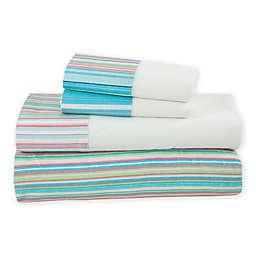 Coastal Life Tropical Rainbow Stripe 144-Thread-Count Sheet Set