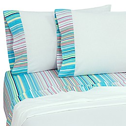 Coastal Life Tropical Rainbow Stripe 144-Thread-Count Pillowcases (Set of 2)