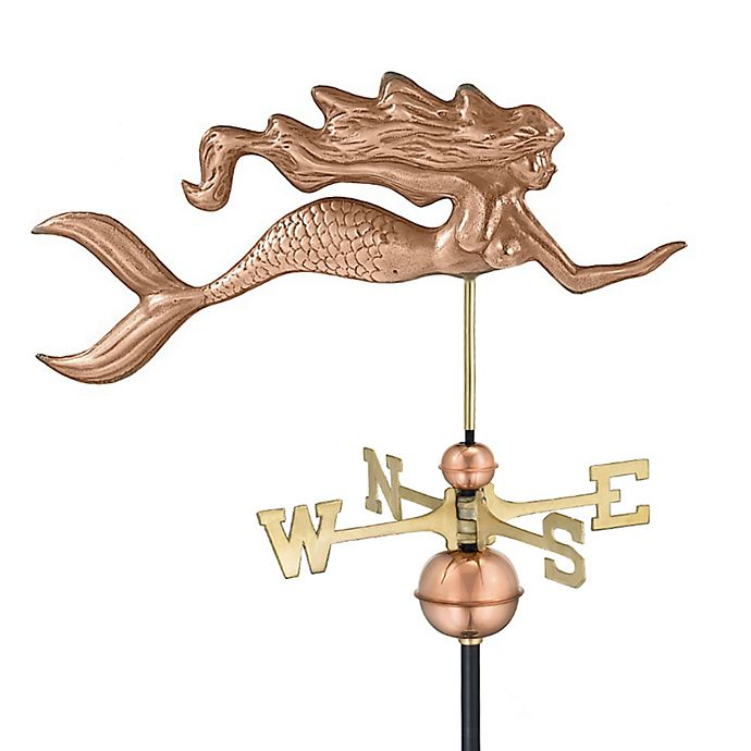 Good Directions Mermaid Weathervane In Polished Copper