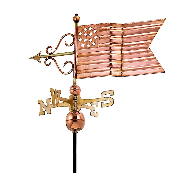 Alternate image 1 for Good Directions American Flag Weathervane in Polished Copper Finish